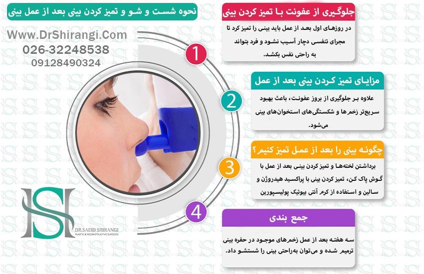 اینفوگرافیک تمیز کردن بینی بعد از جراحی بینی